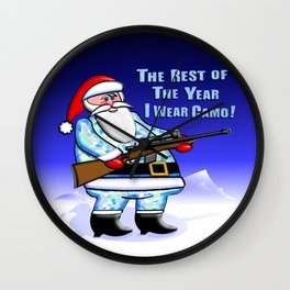Santa Wears Camo Wall Clock