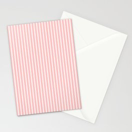 Classic Small Coral Rose Pastel Coral French Mattress Ticking Double Stripes Stationery Cards
