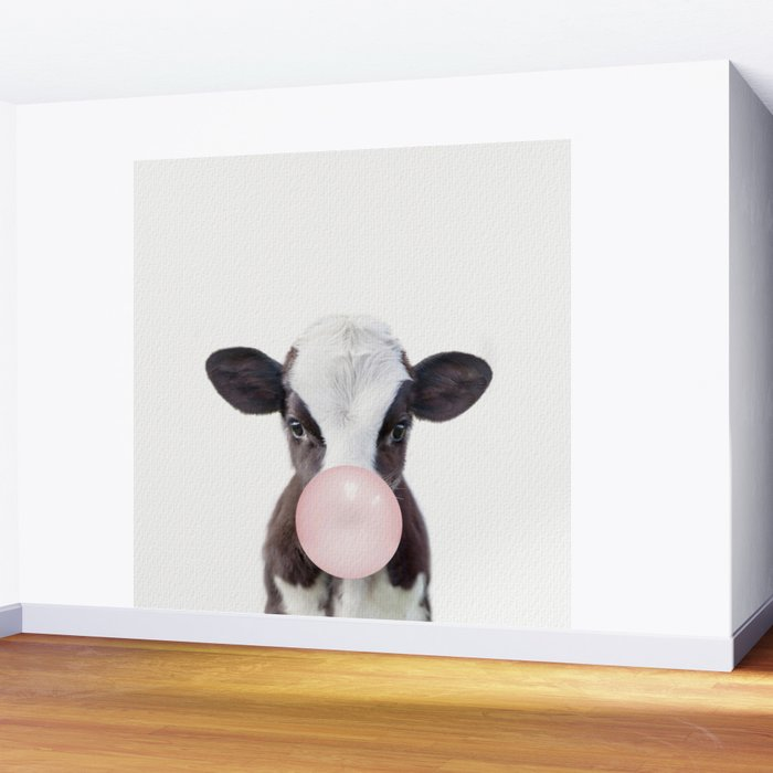 Bubble Gum Baby Cow Wall Mural
