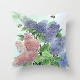 Lilacs and Bees Watercolor Painting Throw Pillow