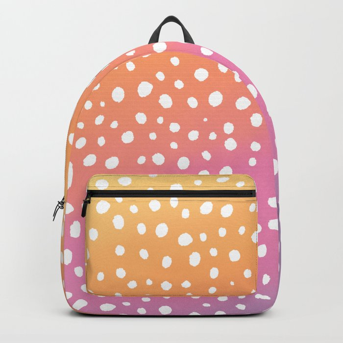 Modern hand drawn polka dots on pink orange sunset watercolor Backpack
