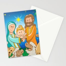 Sweet scene of the nativity of baby Jesus Stationery Cards