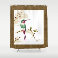 hummingbird Shower Curtains featuring hummingbird by Ariadne