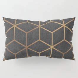 Charcoal and Gold - Geometric Textured Cube Design I Pillow Sham