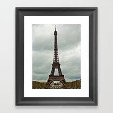 Eiffel Tower on a Cloudy Day Framed Art Print