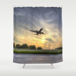 The Sunset Landing Shower Curtain