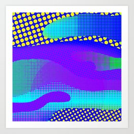 Blue Yellow PurpleHalftone Sea Art Print