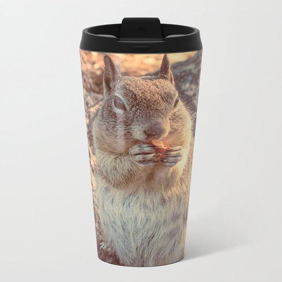 Happy Fluffy Squirrel Metal Travel Mug