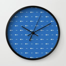 Blue Fish Skeleton Pattern Design Wall Clock