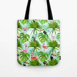 Tropical green pink colorful birds watercolor floral Tote Bag