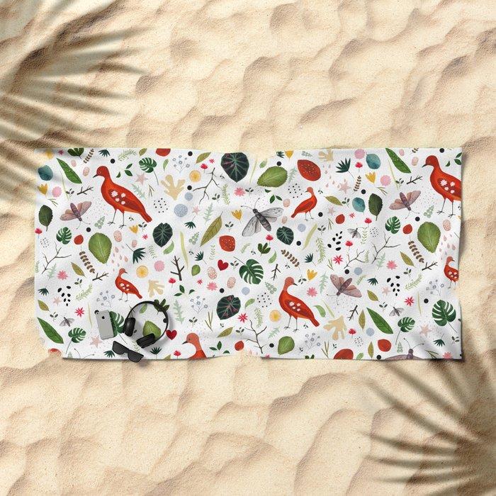 red bird pattern Beach Towel
