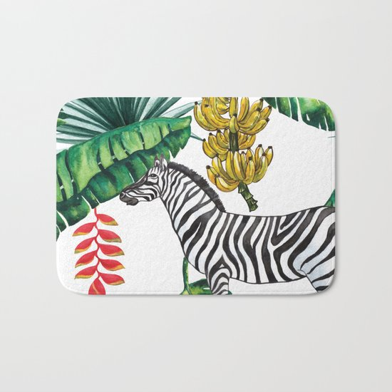watercolor banana leaves with zebra Bath Mat