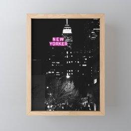 new york city Black & White + Pink Framed Mini Art Print