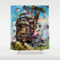 chihiro Shower Curtains featuring howl's moving castle by ururuty