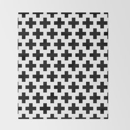 Swiss Cross B&W Throw Blanket