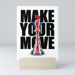 Make Your Move UK / 3D render of chess king with British flag Mini Art Print