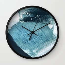 Pacific: a minimal abstract mixed media piece in blues and white Wall Clock