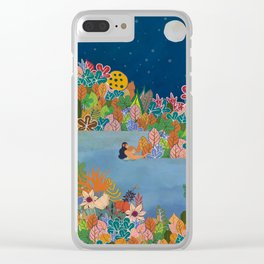 Moonlight Swimming Girl Clear iPhone Case