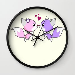 Cute kawaii foxes cartoon in pink and purple Wall Clock