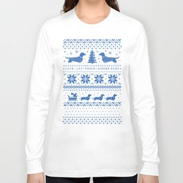 Love Joy Peace Wiener Dogs Blue Pattern Long Sleeve T-shirt