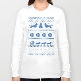 Love Joy Peace Wiener Dogs Blue Pattern Long Sleeve T-shirt