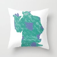 monster inc Throw Pillows featuring MONSTER INC. : SULLEY by DrakenStuff+