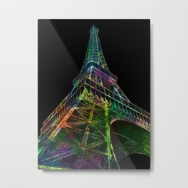The Eiffel Tower, Paris Black Background Metal Print