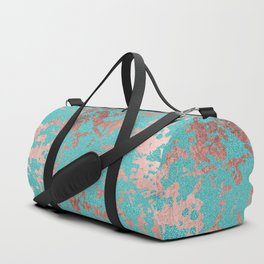 Modern turquoise glitter faux rose gold marble Duffle Bag