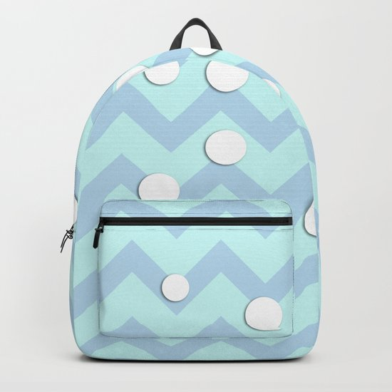Light blue white Chevron pattern with Snow Circles Backpack