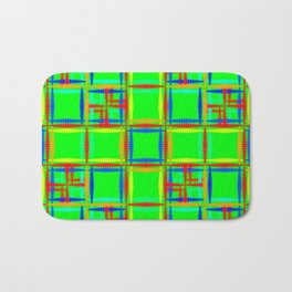 Oriental pattern of neon squares and curly crosses on a green background. Bath Mat