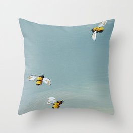Bees in spring Throw Pillow