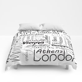 European capitals on white Comforters