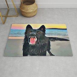 Vicious Black Wolf Rug