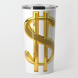 Gold Dollar Sign on White Travel Mug