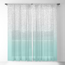 Modern Girly Faux Silver Glitter Ombre Teal Ocean Color Block Sheer Curtain