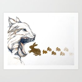Linx vs. Rabbit Art Print