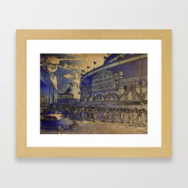 Harry Caray and Wrigley Field of yesterday Framed Art Print