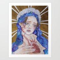 madonna Art Prints featuring Madonna by Danielle Renée Long