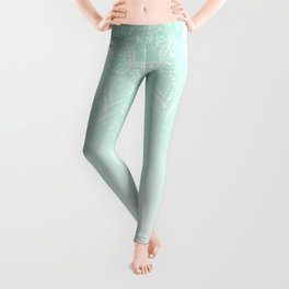 Elegant white and mint mandala confetti design Leggings
