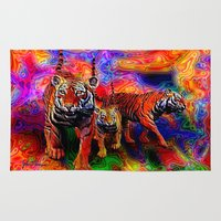 tigers Area & Throw Rugs featuring Psychedelic Tigers by JT Digital Art