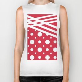 White dots on a red background. Biker Tank