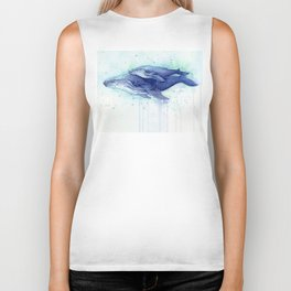 Humpback Whale Watercolor Mom and Baby Painting Whales Sea Creatures Biker Tank