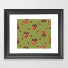 vintage roses - green Framed Art Print
