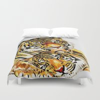 tigers Duvet Covers featuring Tigers by DrewzDesignz
