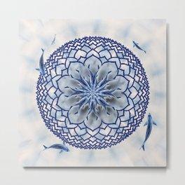 8 Koi Lotus Mandala in Blue Metal Print