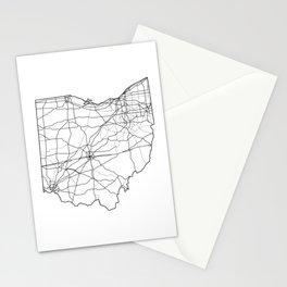 Ohio White Map Stationery Cards