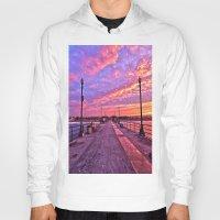 calendars Hoodies featuring Sunrise Huntington Beach Pier   11/12/13 by John Minar Fine Art Photography