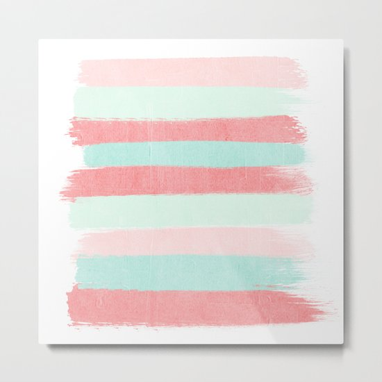 Painterly Stripes abstract trendy colors gender neutral seaside coral tropical minimal Metal Print