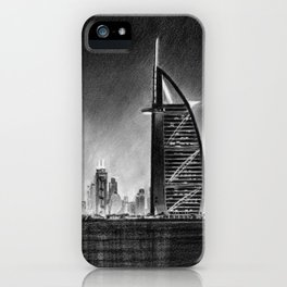 Dubai Cityscape Drawing iPhone Case