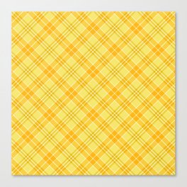 Yellow Diagonal Plaid Pattern Canvas Print